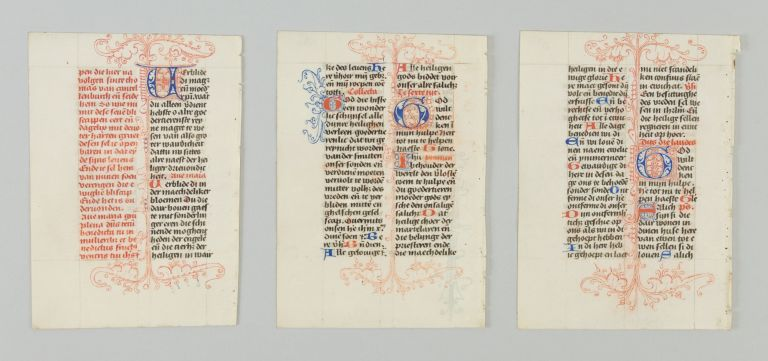 OFFERED INDIVIDUALLY THREE DECORATIVE VELLUM MANUSCRIPT LEAVES, FROM A. SMALL BOOK OF HOURS IN DUTCH.
