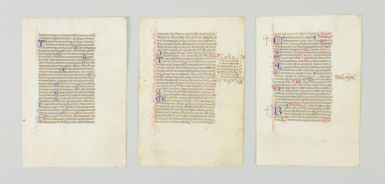 OFFERED INDIVIDUALLY THREE VELLUM MANUSCRIPT LEAVES, FROM A. SMALL BREVIARY IN LATIN.