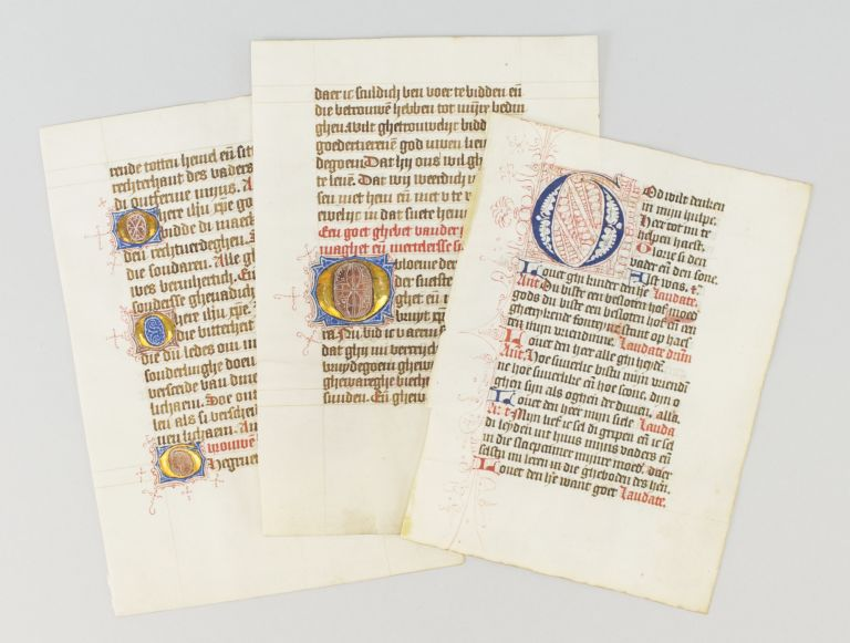 OFFERED AS A. GROUP THREE ILLUMINATED VELLUM MANUSCRIPT LEAVES WITH DECORATIVE INITIALS FROM PRAYER BOOKS IN DUTCH.