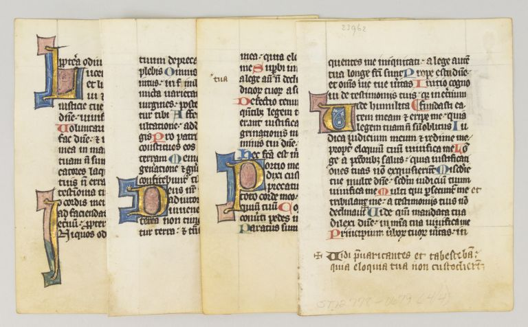 OFFERED INDIVIDUALLY FOUR ILLUMINATED VELLUM MANUSCRIPT LEAVES WITH DECORATIVE INITIALS FROM A. PSALTER IN LATIN.