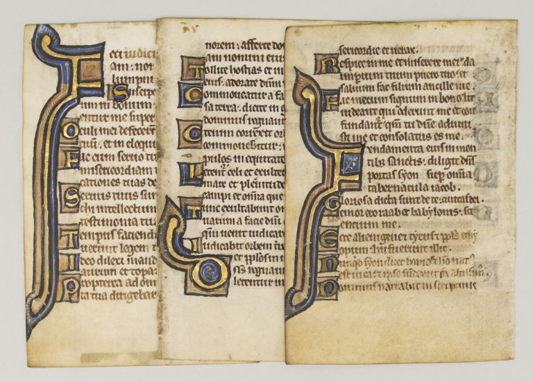 OFFERED INDIVIDUALLY THREE ILLUMINATED VELLUM MANUSCRIPT LEAVES WITH BOLD INITIALS FROM A. SMALL PSALTER IN LATIN.