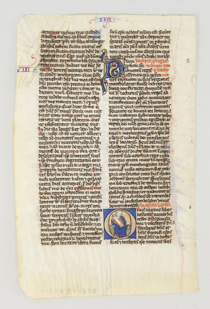 TEXT FROM NAHUM. FROM A. POCKET BIBLE IN LATIN AN ILLUMINATED VELLUM MANUSCRIPT LEAF WITH AN HISTORIATED INITIAL.