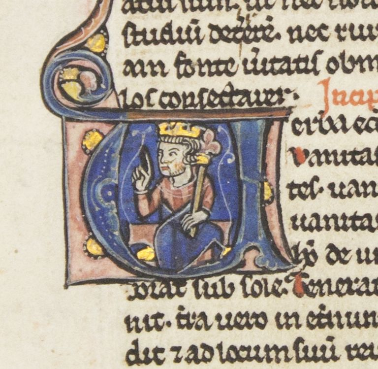 TEXT FROM ECCLESIASTICUS. FROM A. PORTABLE BIBLE IN LATIN AN ILLUMINATED VELLUM MANUSCRIPT LEAF WITH AN HISTORIATED INITIAL.