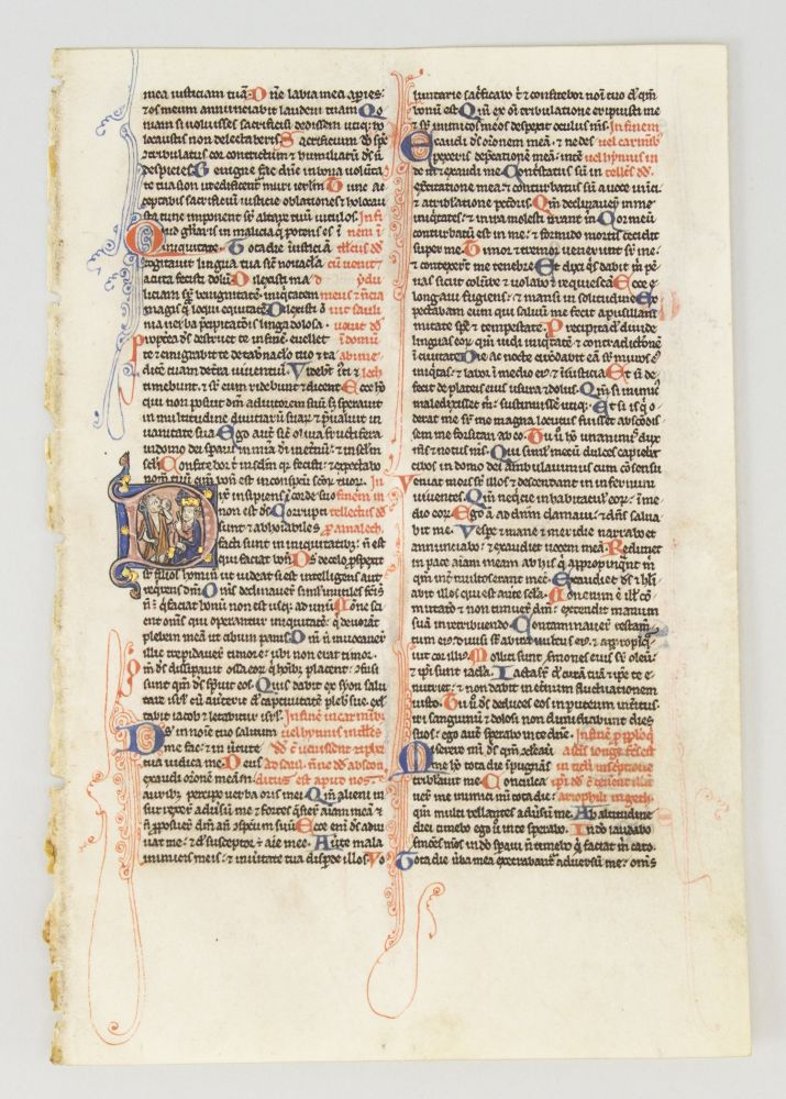 TEXT FROM PSALMS 50-59. FROM A. PORTABLE BIBLE IN LATIN AN ILLUMINATED VELLUM MANUSCRIPT LEAF WITH AN HISTORIATED INITIAL.
