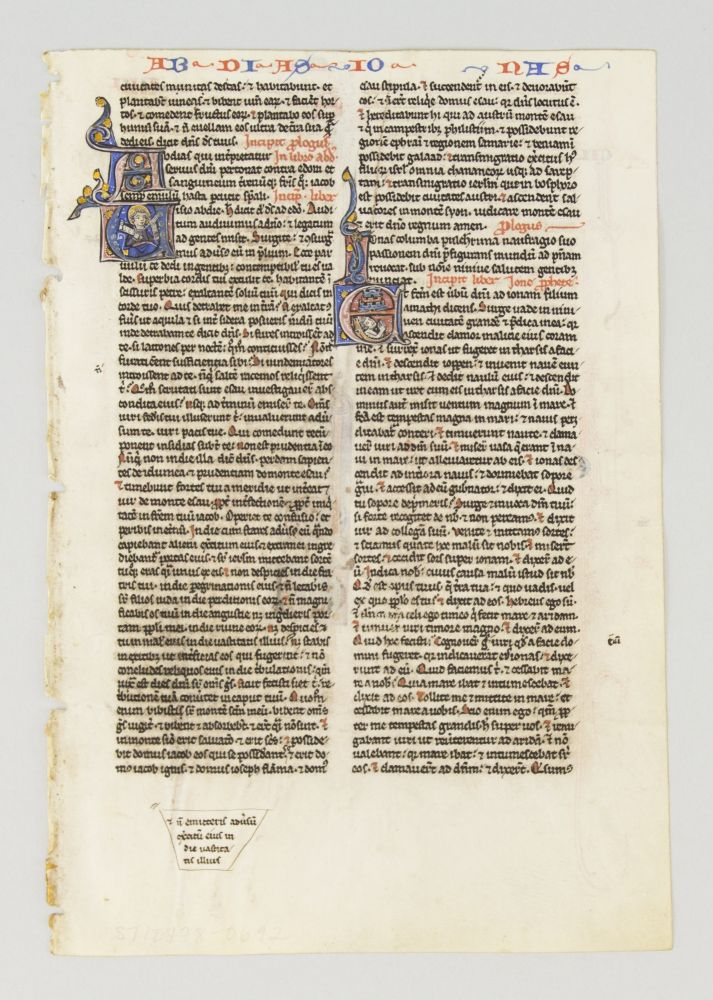 TEXT FROM PARTS OF OBADIAH, JONAH, AND MICAH. FROM A. PORTABLE BIBLE IN LATIN AN ILLUMINATED VELLUM MANUSCRIPT LEAF WITH THREE HISTORIATED INITIALS.