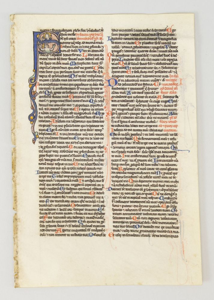 TEXT FROM PSALM 11. FROM A. PORTABLE BIBLE IN LATIN AN ILLUMINATED VELLUM MANUSCRIPT LEAF WITH AN HISTORIATED INITIAL.