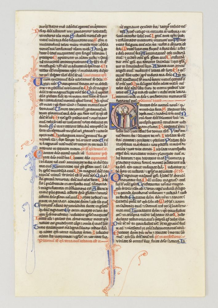 TEXT FROM PSALM 97. FROM A. PORTABLE BIBLE IN LATIN AN ILLUMINATED VELLUM MANUSCRIPT LEAF WITH AN HISTORIATED INITIAL.