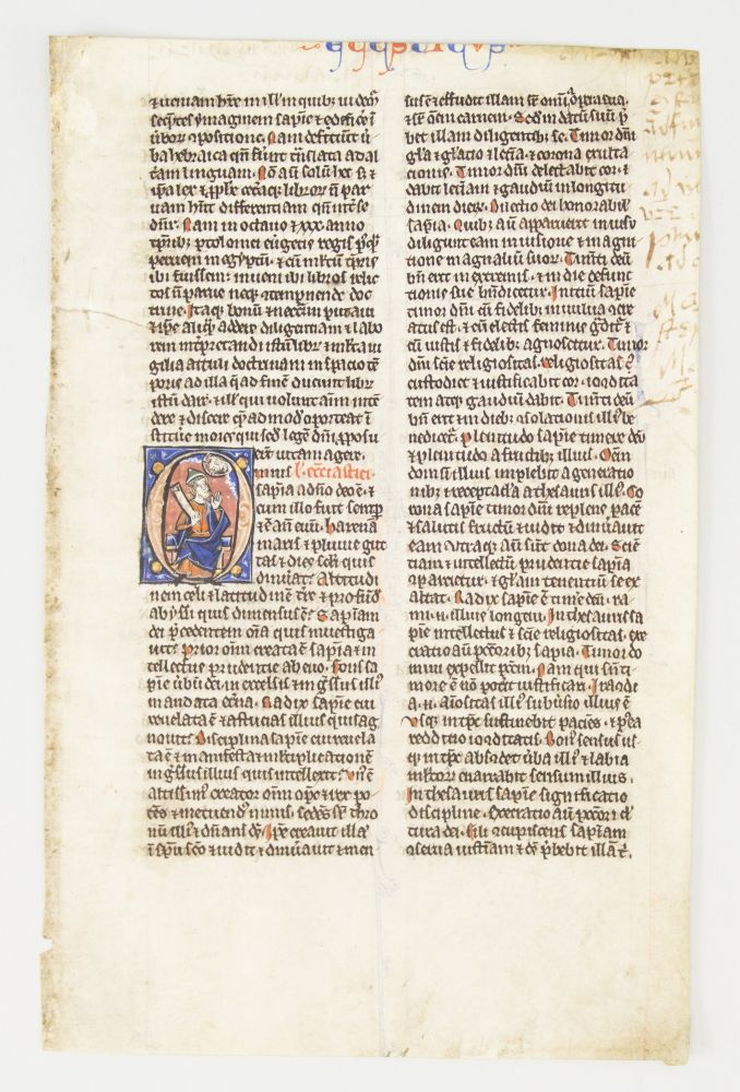 TEXT FROM ECCLESIASTICUS. FROM A. BIBLE IN LATIN AN ILLUMINATED VELLUM MANUSCRIPT LEAF WITH AN HISTORIATED INITIAL.