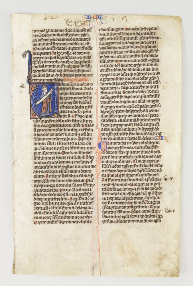 TEXT FROM JOEL. FROM A. BIBLE IN LATIN AN ILLUMINATED VELLUM MANUSCRIPT LEAF WITH AN HISTORIATED INITIAL.