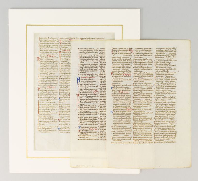 TEXT FROM THE INTERPRETATION OF HEBREW NAMES. OFFERED INDIVIDUALLY THREE VELLUM MANUSCRIPT LEAVES FROM A. BIBLE IN LATIN.