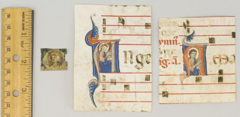 TWO FROM AN ANTIPHONER AND ONE FROM A WORK ON CANON LAW. OFFERED AS A. GROUP THREE SMALL HISTORIATED INITIALS CUT FROM ILLUMINATED MANUSCRIPT LEAVES IN LATIN.