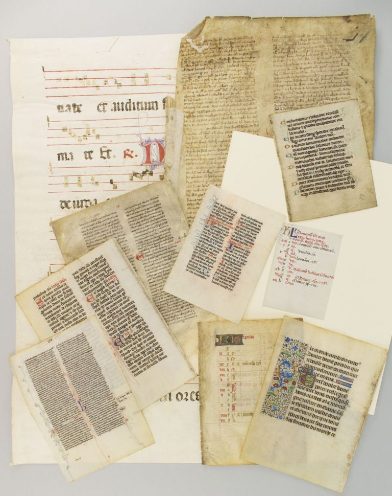 PACKETS CONTAINING 10 LEAVES THAT DEMONSTRATE THE RANGE AND DEVELOPMENT OF MEDIEVAL AND RENAISSANCE PALEOGRAPHY.