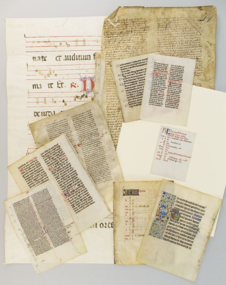 INDIVIDUAL PACKETS CONTAINING 10 VELLUM LEAVES THAT DEMONSTRATE A. RANGE OF MEDIEVAL AND RENAISSANCE PALEOGRAPHY AND DECORATION, the packet including one vellum leaf from an early printed book of hours.