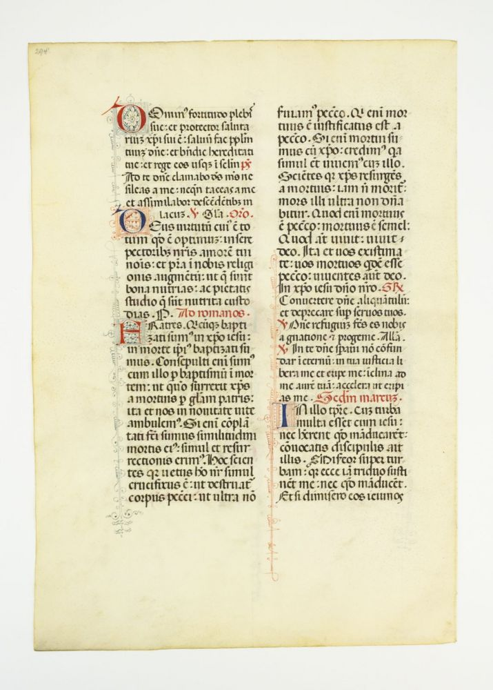 OFFERED INDIVIDUALLY VELLUM MANUSCRIPT LEAVES, FROM A. MISSAL IN LATIN WITH WHIMSICAL DECORATION.