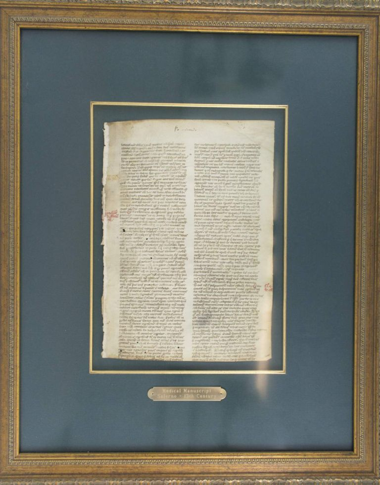 A VELLUM MANUSCRIPT LEAF FROM A. MEDICAL TREATISE IN LATIN.