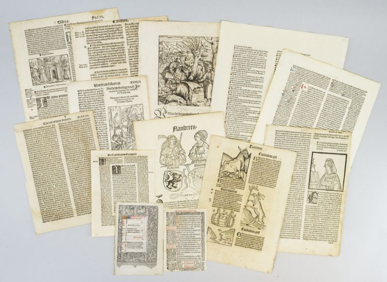 WITH NUMEROUS EXAMPLES OF WOODCUT ILLUSTRATIONS INDIVIDUAL PACKETS CONTAINING 15 LEAVES FROM THE FIRST CENTURY OF PRINTING IN EUROPE.