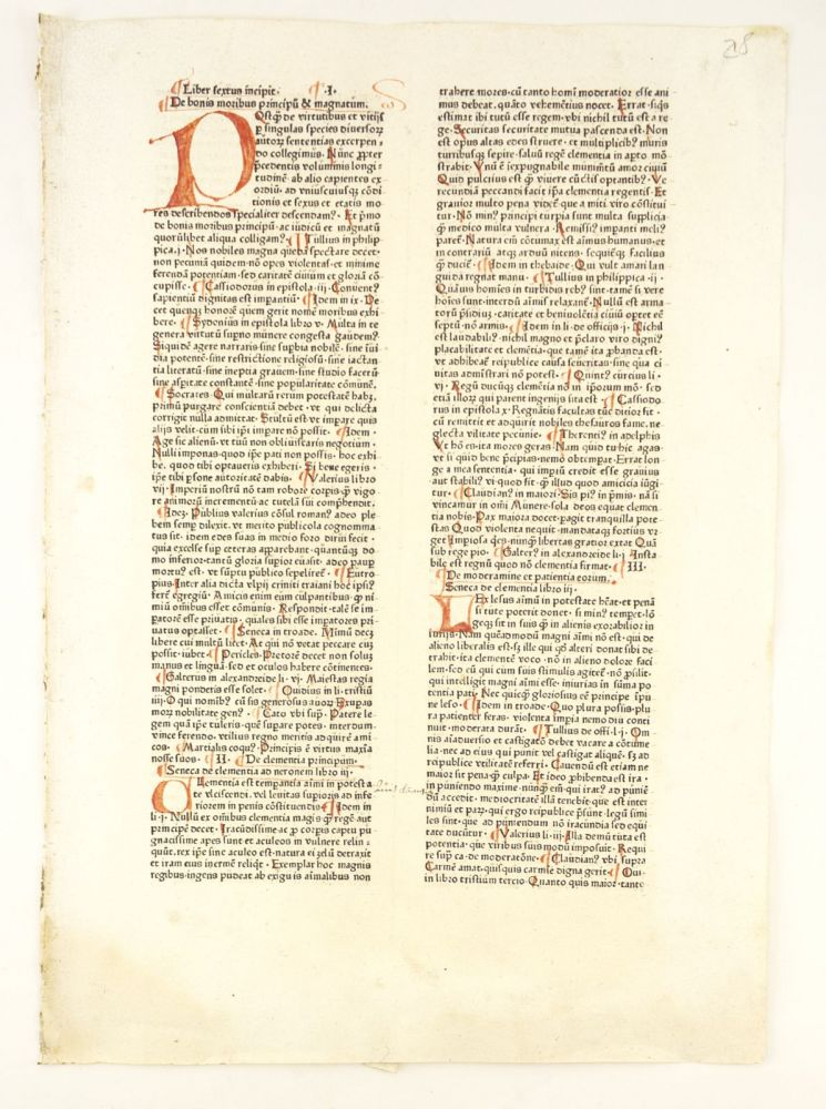 SPECULUM DOCTRINALE. INCUNABULAR LEAF, VINCENT OF BEAUVAIS.
