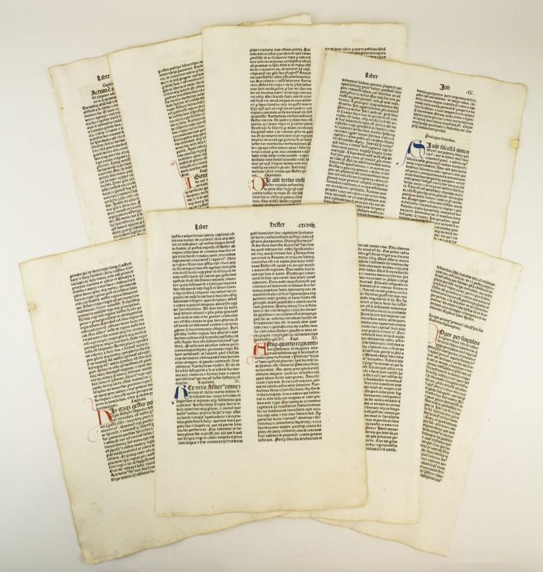 BIBLIA LATINA. TEXT FROM HESTER (ESTHER), JOB, AND JUDITH. INCUNABULAR PRINTED LEAVES, OFFERED INDIVIDUALLY MULTIPLE LEAVES, FROM A. BIBLE IN LATIN.