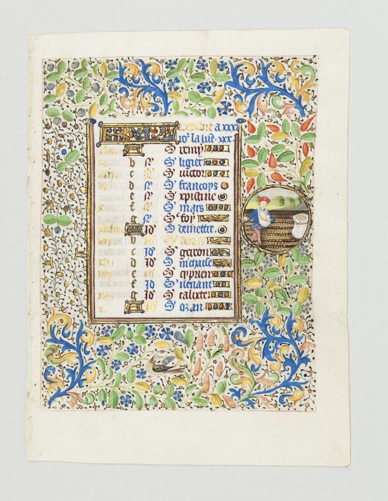 TEXT FOR THE MONTH OF OCTOBER. DEPICTING LABOR OF THE MONTH AND ZODIAC SIGN AN ILLUMINATED VELLUM CALENDAR LEAF FROM A. BOOK OF HOURS.