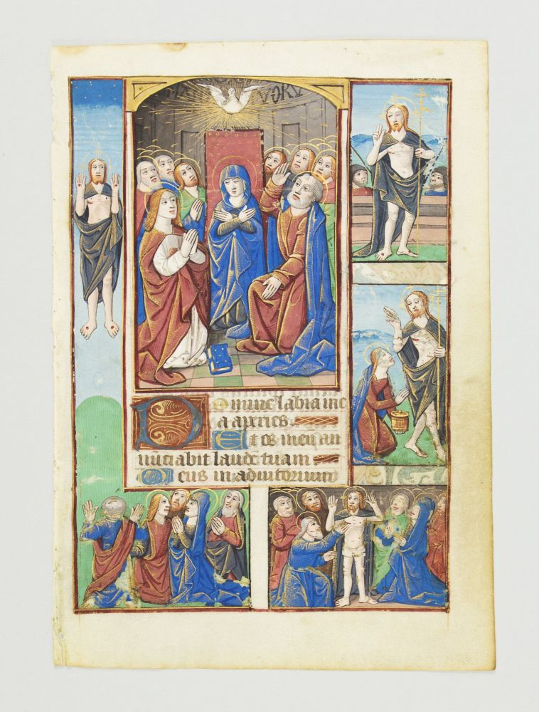 TEXT FROM HOURS OF THE HOLY SPIRIT. WITH FOUR INSET MINIATURES DEPICTING VARIOUS ASPECTS OF THE RESURRECTION OF CHRIST AN ILLUMINATED VELLUM MANUSCRIPT LEAF SHOWING PENTECOST, FROM A. BOOK OF HOURS IN LATIN.