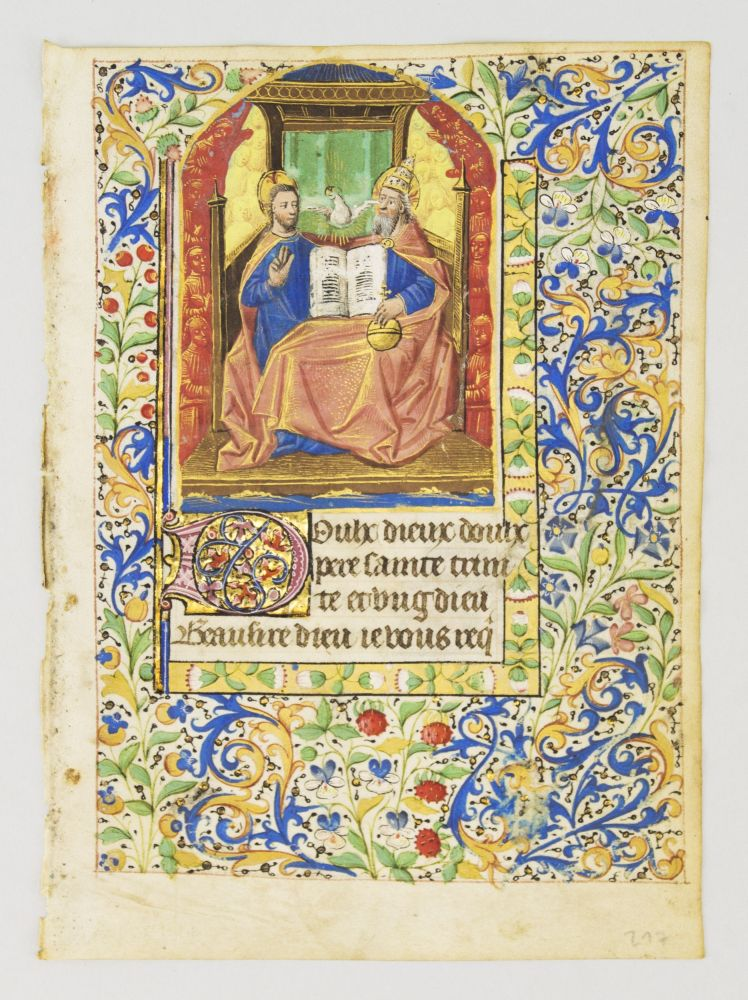 TEXT FROM A PRAYER TO THE TRINITY IN FRENCH. FROM A. BOOK OF HOURS IN FRENCH AND LATIN AN ILLUMINATED VELLUM MANUSCRIPT LEAF WITH A. MINIATURE OF THE HOLY TRINITY.