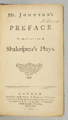 MR. JOHNSON'S PREFACE TO HIS EDITION OF SHAKESPEAR'S PLAYS. SAMUEL JOHNSON.