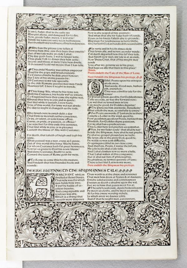 TWO LEAVES, OFFERED INDIVIDUALLY, FROM A COPY OF THE WORKS OF GEOFFREY CHAUCER PRINTED ON VELLUM. OFFERED INDIVIDUALLY KELMSCOTT PRESS - VELLUM LEAVES, GEOFFREY CHAUCER.