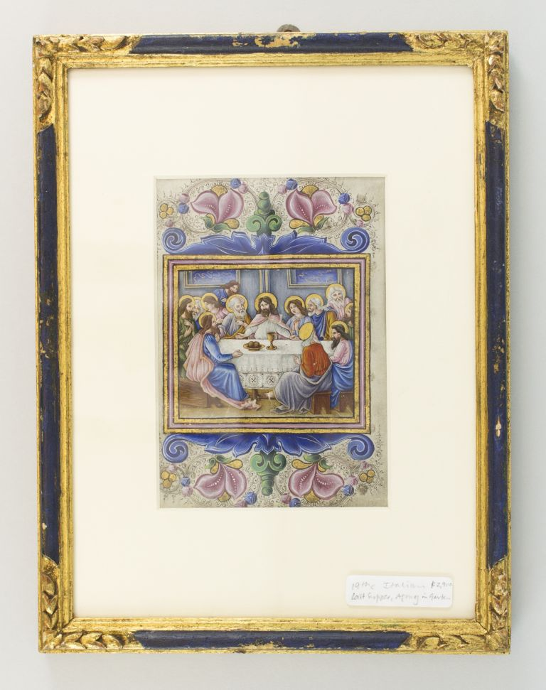 A MODERN ILLUMINATED VELLUM MANUSCRIPT LEAF DEPICTING THE LAST SUPPER ON ONE SIDE AND THE AGONY IN THE GARDEN ON THE OTHER.