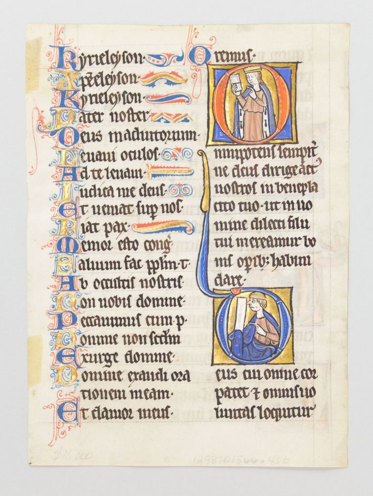 TEXT FROM THE END OF THE LITANY AND THE FIRST FIVE COLLECTS THAT FOLLOW. FROM A. PSALTER-HOURS IN LATIN MADE FOR A. NUN A VERY UNUSUAL ILLUMINATED VELLUM MANUSCRIPT LEAF WITH FIVE HISTORIATED INITIALS.