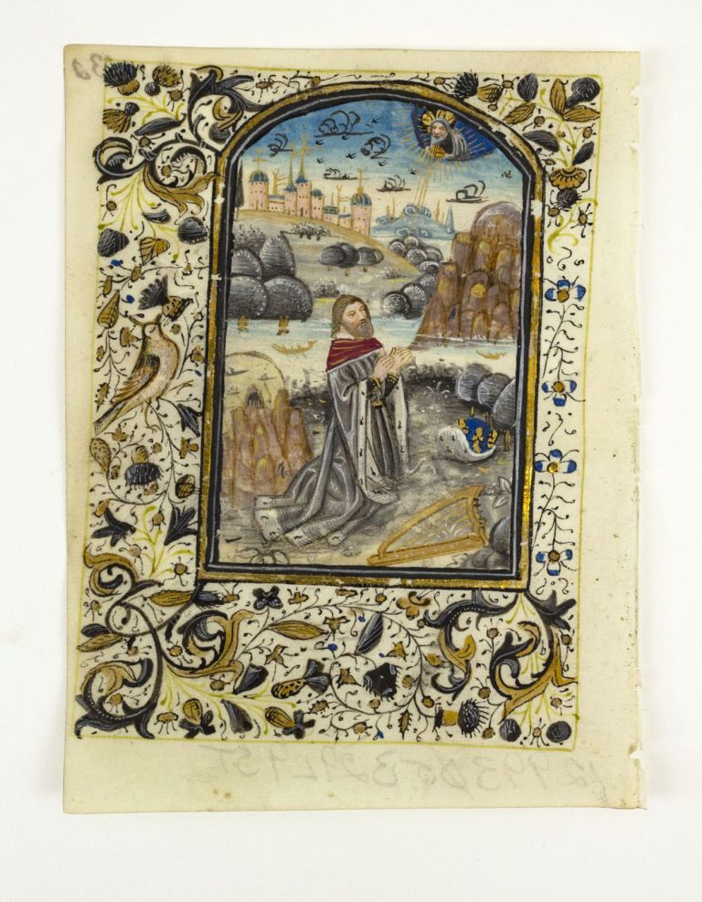 WITH A. DEMI-GRISAILLE MINIATURE OF KING DAVID AN ILLUMINATED VELLUM MANUSCRIPT LEAF FROM A. BOOK OF HOURS.