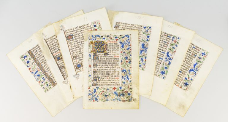 INDIVIDUAL ILLUMINATED VELLUM MANUSCRIPT LEAVES FROM A. BOOK OF HOURS IN LATIN.