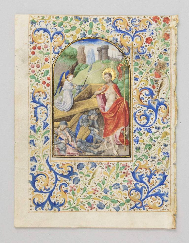 FROM A. BOOK OF HOURS IN LATIN AN ILLUMINATED VELLUM MANUSCRIPT LEAF WITH A. BEAUTIFUL MINIATURE OF THE RESURRECTED CHRIST.
