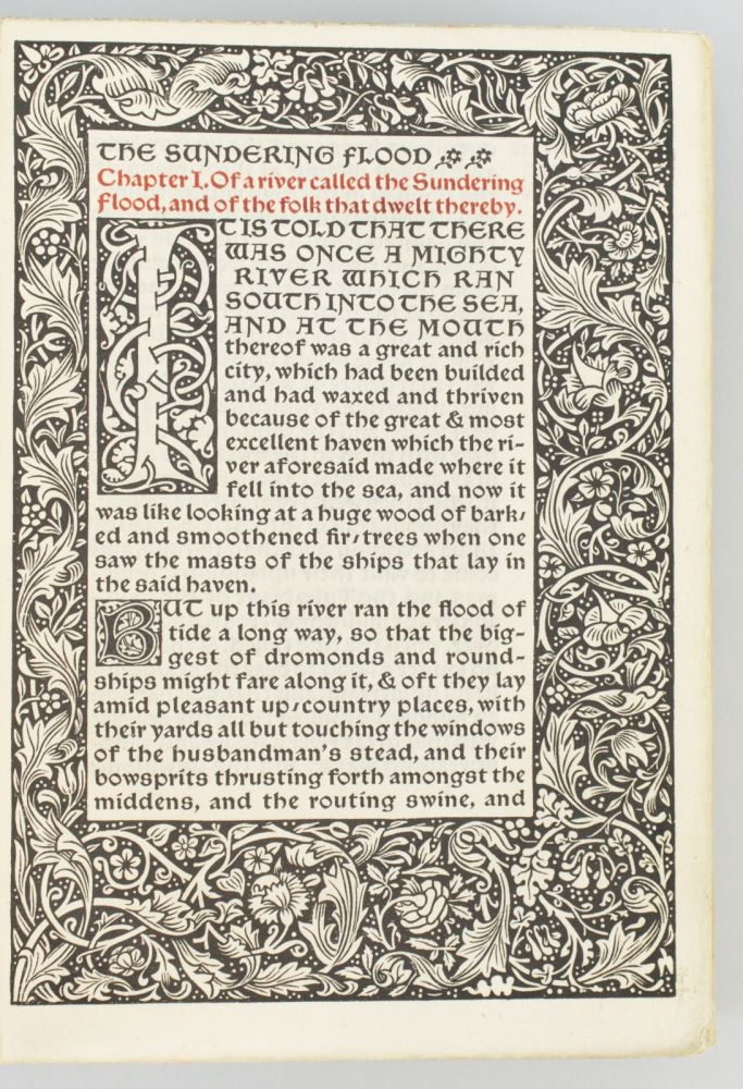 THE SUNDERING FLOOD. KELMSCOTT PRESS, WILLIAM MORRIS.