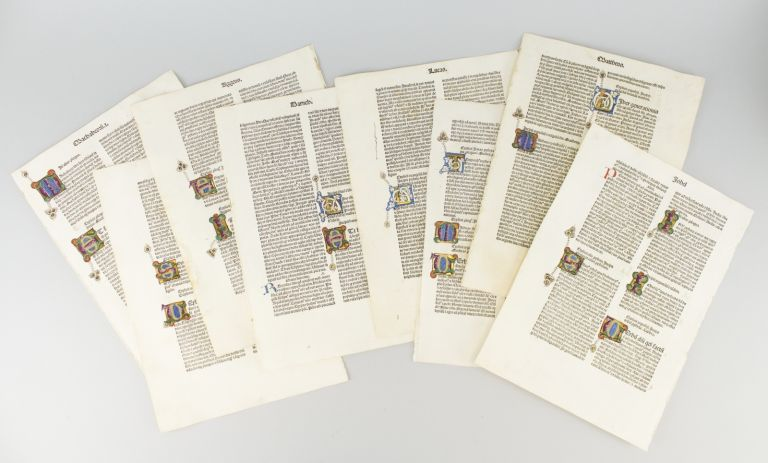 BIBLIA LATINA. EIGHT PRINTED LEAVES WITH ILLUMINATED INITIALS, ONE TEXT LEAF FROM A. JENSON BIBLE, OFFERED INDIVIDUALLY.