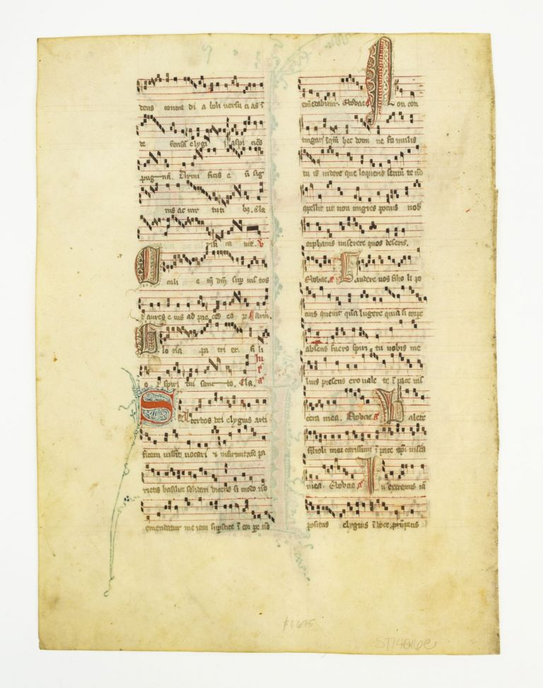 SOLD INDIVIDUALLY VERY ATTRACTIVE VELLUM MANUSCRIPT LEAVES, FROM AN ANTIPHONAL WITH DECORATIVE INITIALS AND WHIMSICAL FACES.