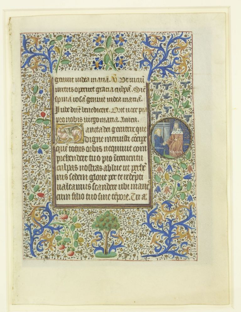 TEXT FROM MATINS. FROM A. BOOK OF HOURS IN LATIN AN ILLUMINATED MANUSCRIPT LEAF ON VELLUM WITH ROUNDELS DEPICTING THE LIFE OF ST. ALEXIUS.