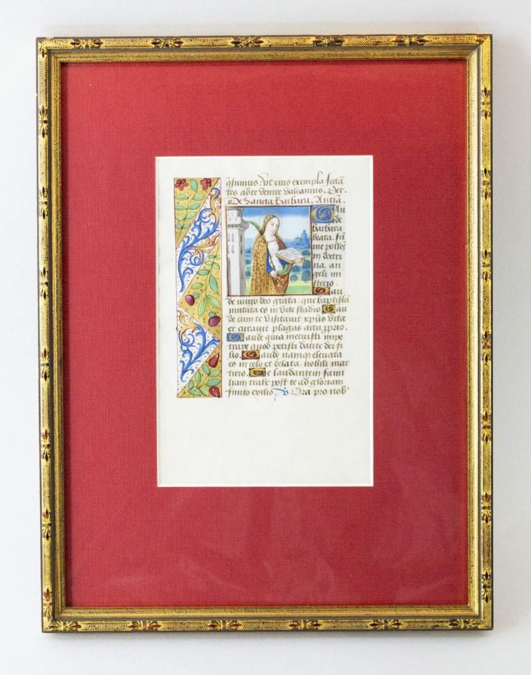 TEXT FROM THE SUFFRAGES. FROM A. BOOK OF HOURS IN LATIN AN ILLUMINATED VELLUM MANUSCRIPT LEAF WITH TWO MINIATURES OF FEMALE SAINTS.