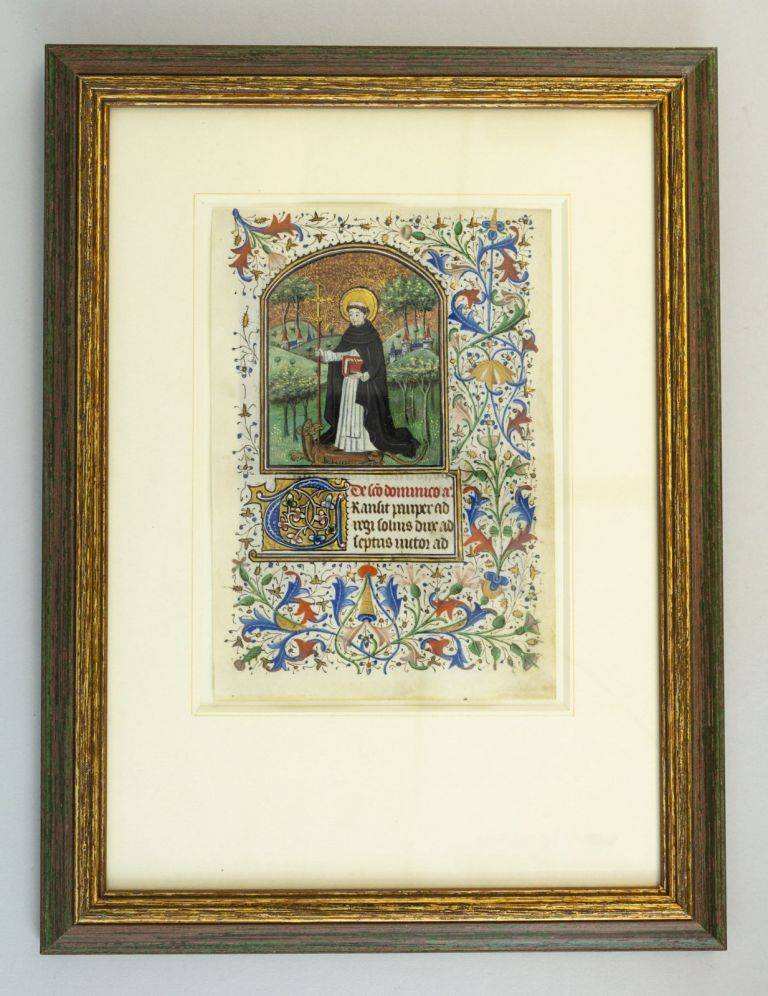 TEXT FROM THE SUFFRAGES. FROM A. BOOK OF HOURS IN LATIN AN ILLUMINATED MANUSCRIPT LEAF ON VELLUM WITH A. MINIATURE OF ST. DOMINIC.