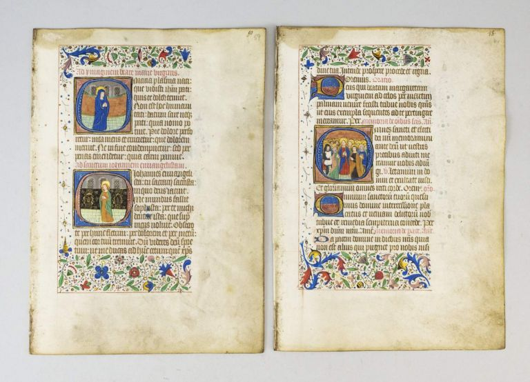 OFFERED INDIVIDUALLY TWO VELLUM ILLUMINATED MANUSCRIPT LEAVES WITH LARGE HISTORIATED INITIALS, FROM A. BOOK OF HOURS IN LATIN.