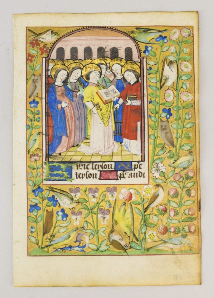 TEXT FROM THE BEGINNING OF THE LITANY. FROM A. BOOK OF HOURS IN LATIN AND FRENCH AN ILLUMINATED MANUSCRIPT LEAF ON VELLUM WITH A. MINIATURE OF A. GROUP OF SAINTS.