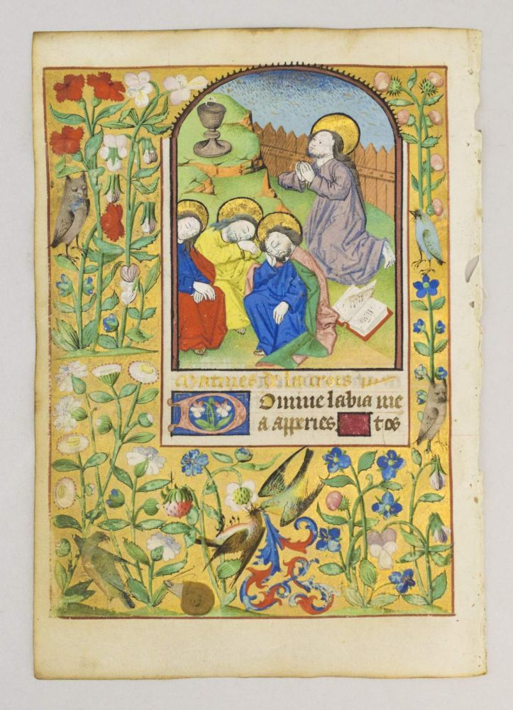 TEXT FROM THE HOURS OF THE CROSS (MATINS). FROM A. BOOK OF HOURS IN LATIN AND FRENCH AN ILLUMINATED MANUSCRIPT LEAF ON VELLUM WITH A. MINIATURE OF THE AGONY IN THE GARDEN.