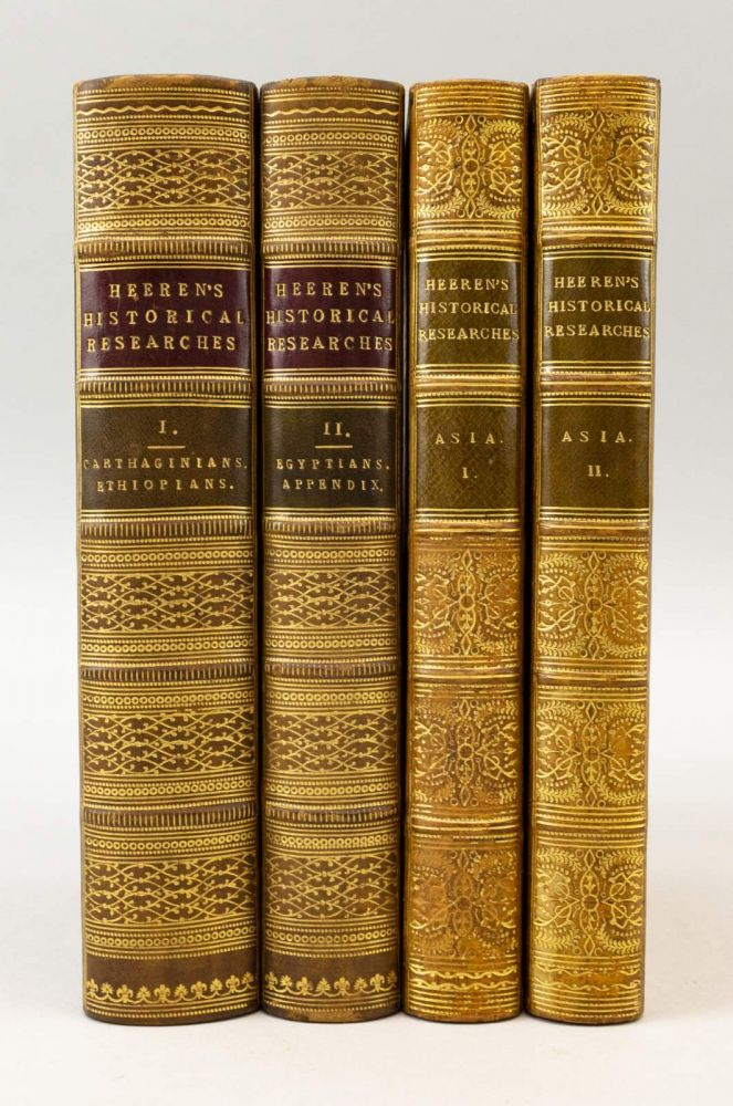 HISTORICAL RESEARCHES INTO THE POLITICS, INTERCOURSE, AND TRADE OF THE CARTHAGINIANS, ETHIOPIANS, AND EGYPTIANS. [with] HISTORICAL RESEARCHES INTO THE POLITICS, INTERCOURSE AND TRADE OF THE PRINCIPAL NATIONS OF ANTIQUITY. BINDINGS - FINELY BOUND SETS, ARNOLD HERMANN LUDWIG HEEREN, HISTORY - ANCIENT.