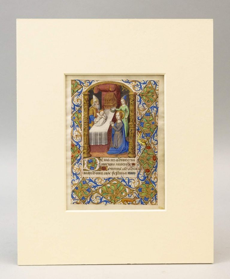 TEXT FROM BEGINNING OF NONE. WITH A. MINIATURE OF THE PRESENTATION IN THE TEMPLE AN ILLUMINATED VELLUM MANUSCRIPT LEAF FROM A. BOOK OF HOURS IN LATIN.