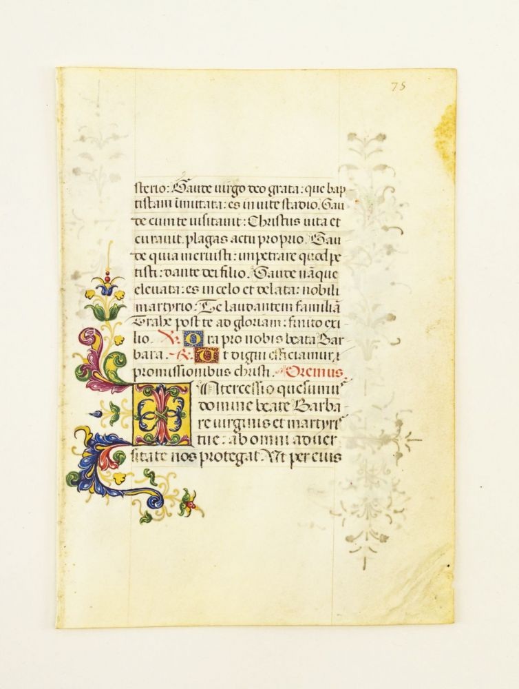 FROM A VERY ATTRACTIVE PORTABLE SPANISH DEVOTIONAL WORK IN LATIN. OFFERED INDIVIDUALLY ILLUMINATED VELLUM MANUSCRIPT LEAVES.