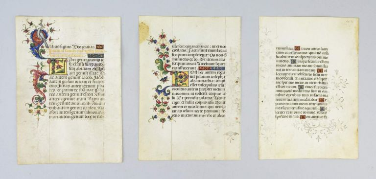 OFFERED INDIVIDUALLY ILLUMINATED VELLUM MANUSCRIPT LEAVES, FROM A. VERY ATTRACTIVE PORTABLE SPANISH DEVOTIONAL MANUSCRIPT.