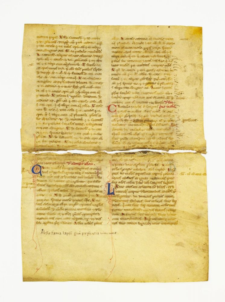 FROM A. MEDICAL TREATISE IN LATIN MANUSCRIPT LEAVES ON VELLUM, OFFERED INDIVIDUALLY, ONE LEAF BISECTED.