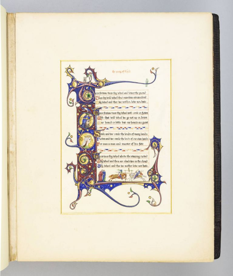 "AN ALBUM OF ILLUMINATIONS ON VELLUM PAPER FROM ""IDYLLS OF THE KING."""