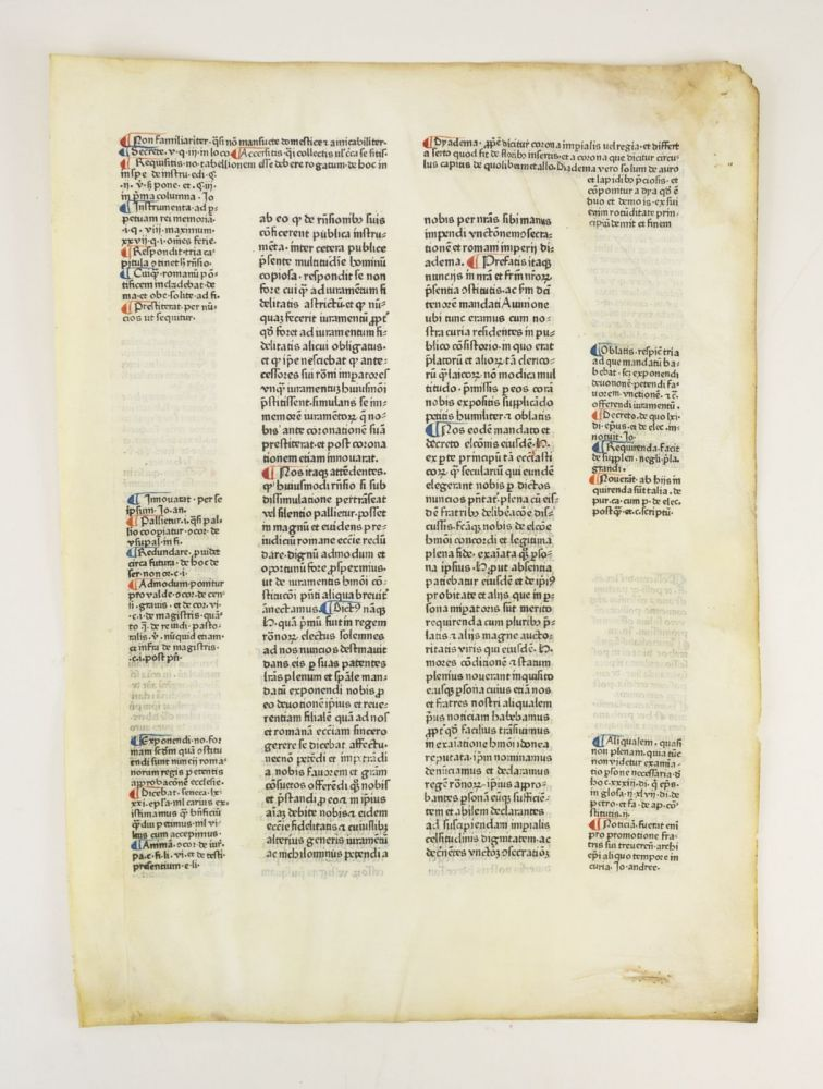 CONSTITUTIONES. AN INCUNABULAR PRINTED LEAF ON VELLUM FROM CLEMENS V'S.