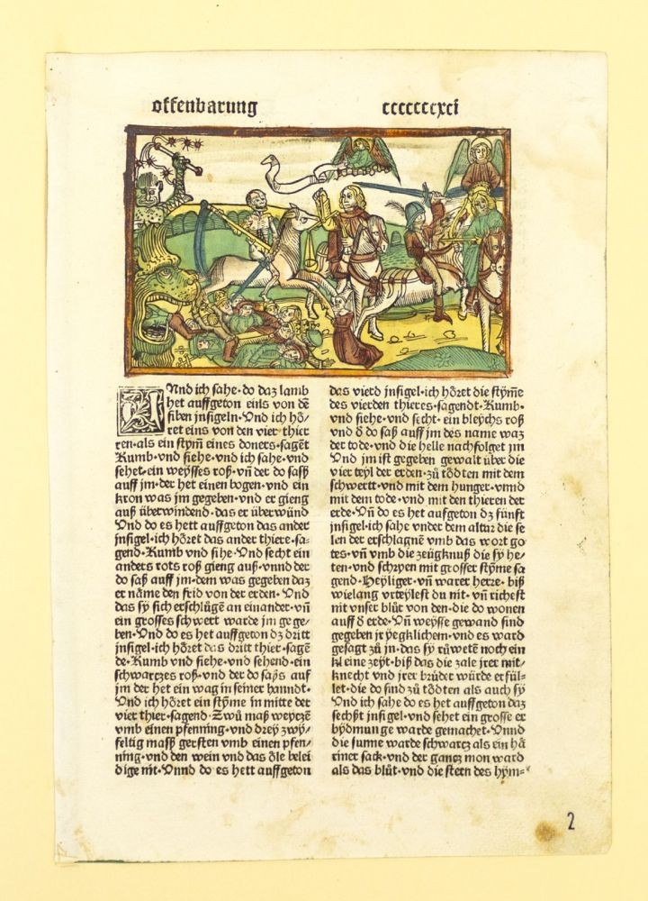 TEXT FROM REVELATION. INCUNABULAR LEAF, FROM A. BIBLE IN GERMAN.