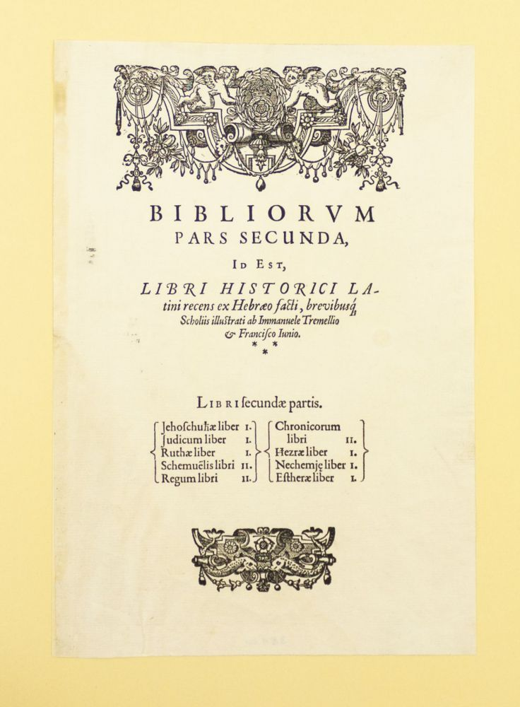 """TITLE PAGE TO """"PARS SECUNDA"""" [JOSHUA - ESTHER]. PRINTED LEAF, BIBLE IN LATIN."""